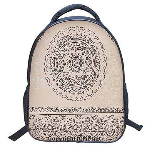 Waterproof Cute School Backpack for Boys and Girls,Water Resistant Fashion College Book Bag Unisex,16 inch,Floral Tattoo Design Inspirations from Asian Civilizations Doodle Style Soft Colored Decorat -