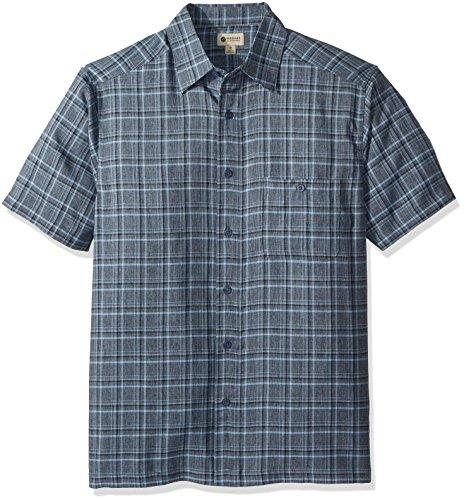 Haggar Men's Short Sleeve Microfiber Woven Shirt, Navy MARL/Black Grid, XL
