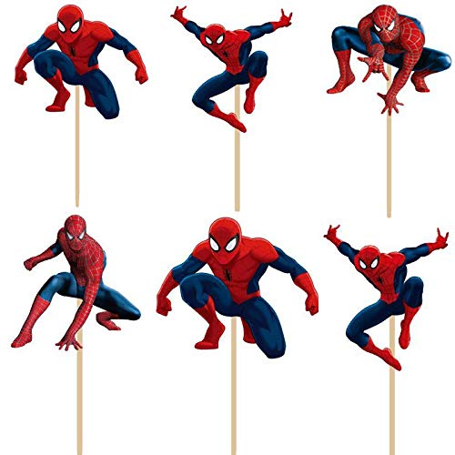 Spiderman Birthday Decoration Theme - Cupcake Spider-Man Toppers Picks 24 pcs in 4 different Spider man Figures (disposable paper designs)