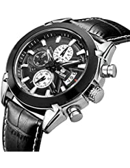 Mens Big Face Sport Watches For Men Waterproof Military Analog Casual Black Leather Wrist Cuff Watch