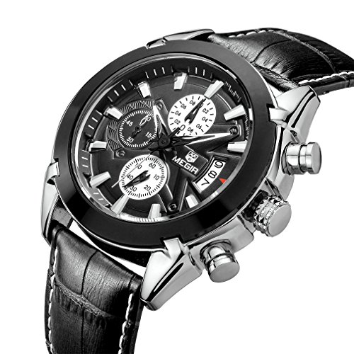 TOPMARGO Mens Black Leather Watch Waterproof Chronograph Black Dial Dress Watches For Men(Black) Gents Black Leather Watch