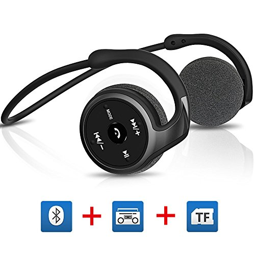 Fm Stereo Wireless Headphone (Titita Bluetooth Headset, Bluetooth 4.1 Stereo Over-Ear Sport Bluetooth Headphones 3 in 1(Bluetooth, FM Radio, TF Card Playing 32 GB) Function, Wireless Sweatproof Bluetooth Earbuds(black))