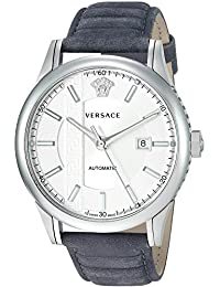 Men's 'AIAKOS' Swiss Automatic Stainless Steel and Leather Casual Watch, Color:Grey (Model: V18010017)