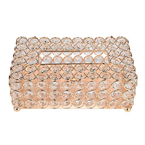 Micozy Crystal Tissue Box Creative Scents Tissue Box Handmade Round - Decorative Bathroom Tissues Holder for Car Bathroom, Bedroom or Office (Gold) ()