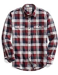 Men's Standard-Fit Long-Sleeve Plaid Herringbone Shirt