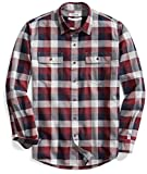 Goodthreads Men's Standard-Fit Long-Sleeve Plaid Herringbone Shirt, Navy Eclipse, Large