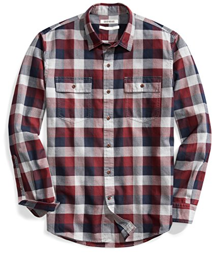 Goodthreads Men's Standard-Fit Long-Sleeve Buffalo Plaid Herringbone Shirt, Navy Eclipse, Large