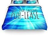 "Kess InHouse Ebi Emporium ""Puh-lease"" 104 by 88-Inch Blue Aqua Woven Duvet Cover, King/California King"