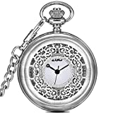 Men's and women's Quartz pocket watch,Waterproof Clamshell Carved case Roman numerals Retro pocket watch Pendant table Necklace table Students watch Old people-C