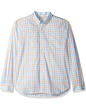 Men's Long-Sleeve Comfort Stretch Multi Gingham Button-Front Shirt