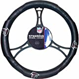 15 X 15 Inches NFL Falcons Steering Wheel Cover, Football Themed Three Sides Team Logo Name Vibrant Rubber Grip Sports Patterned, Team Logo Fan Merchandise Athletic Team Spirit, Black Red Blue, Pvc