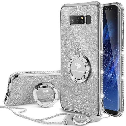 Galaxy Note 8 Case, Glitter Cute Phone Case Girls with Kickstand, Bling Diamond Rhinestone Bumper Ring Stand Sparkly Luxury Thin Soft Protective Samsung Galaxy Note 8 Case for Girl Women - Silver