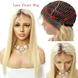 Nobel Hair #4/613 Blonde Peruvian Virgin Human hair Lace Front Wigs for Women With Baby Hair Pre Plucked Ombre Human Hair Wigs Straight Glueless Lace Wigs 20Inch
