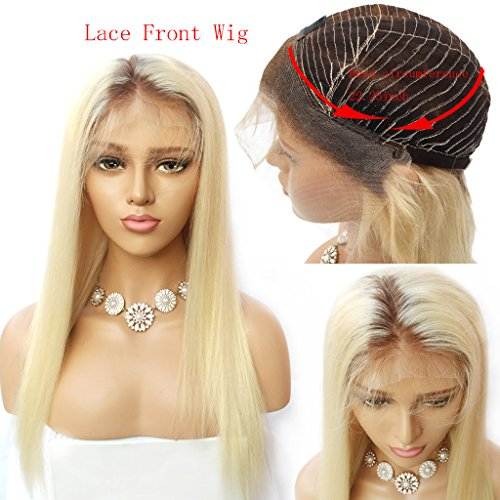 Nobel Hair #4/613 Blonde Peruvian Virgin Human hair Lace Front Wigs for Women With Baby Hair Pre Plucked Ombre Human Hair Wigs Straight Glueless Lace Wigs 18Inch