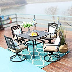 Garden and Outdoor PHI VILLA 5-Piece Outdoor Patio Dining Set Club Bistro Bar Sets, Steel Frame Slat Larger Square Table with 1.57… patio dining sets