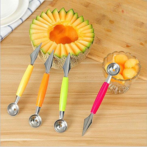 Fityle Double Use Carving Knive and Scoop Kithchen Gadget For Fruit Salad Platter - Yellow by Fityle (Image #4)