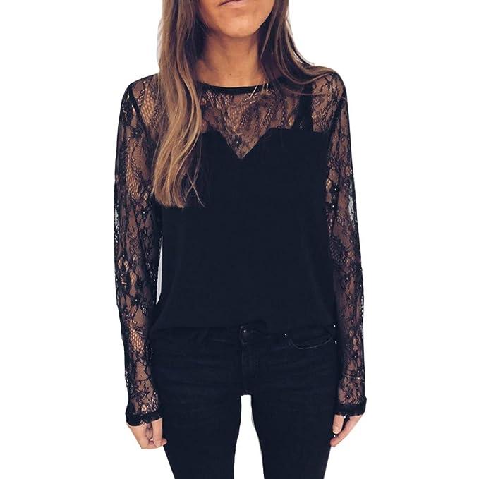 f49d2029c4 Daoope Camicia Donna Elegante,Donna Casual Pizzo Hollow out Pizzo Manica  Lunga Pullover T-Shirt Camicetta Cime: Amazon.it: Abbigliamento