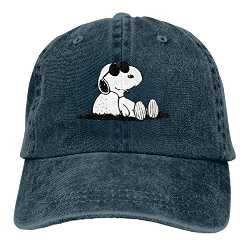 Stylish Snoopy Print Neutral Cotton Denim Adjustable Hat for Men and Women Navy -