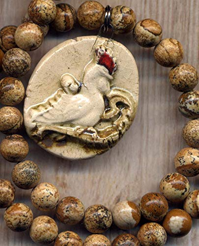 Rustic Rooster Necklace, Picture Jasper Necklace, Porcelain Rooster Pendant Necklace Jewelry by AnnaArt72, Hen Necklace ()
