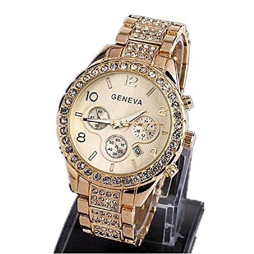 Geneva Quartz Wrist Watch Hosamtel Women Luxury Rhinestone Crystal Dial Alloy Strap Roman Numerals Analog Watch