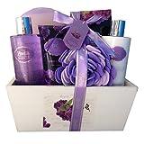 Spa Gift Basket, Spa Basket with Lavender Fragrance, Lilac color by Lovestee - Bath and Body Gift Set, Includes Shower Gel, Body Lotion, Hand Lotion, Bath Salt, Flower Bath-Body Sponge and EVA Sponge
