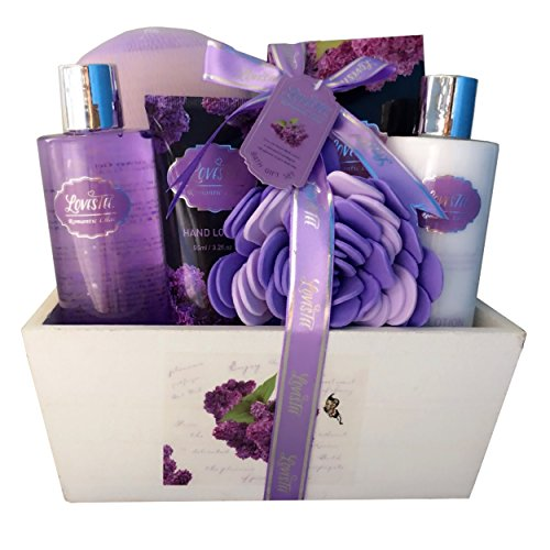 Spa Gift Basket, Spa Basket with Lavender Fragrance, Lilac color by Lovestee - Bath and Body Gift Set, Includes Shower Gel, Body Lotion, Hand Lotion, Bath Salt, Flower Bath-Body Sponge (Set Gift Basket Body Lotion)