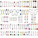 ZGY Elegant Cool 105pcs 21 Styles Acrylic Body Jewelry Ball Eyebrow Ear Navel Belly Lip Tongue Piercing Bar Ring Button