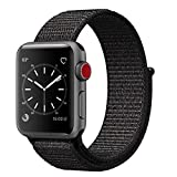 Smart Watch Band Black Sport Loop, Uitee Newest Woven Nylon Band for Apple Watch Series 42mm 3/2/1 , Comfortably Light With Fabric-Like Feel Wrist Strap Replacement (Pinkish Weave Color in)