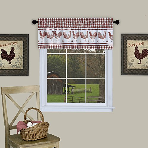 Country Rooster Checkered Kitchen Curtain Plaid Valance (58x14, Burgundy)