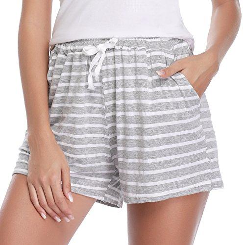 Hawiton 1 & 2 PCS Women Striped Cotton Sleeping Pajama Bottoms Exercise Fitness Shorts Grey