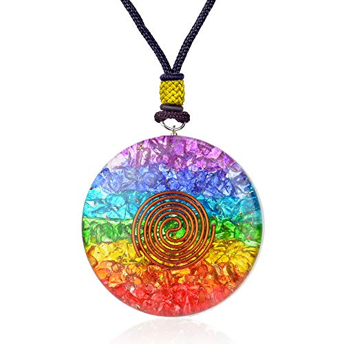 (7 Chakra Rainbow Orgone Crystal pendant for Strengthen Immune System - Heart - Self Confidence – Positivity- Emotional Body Purification)