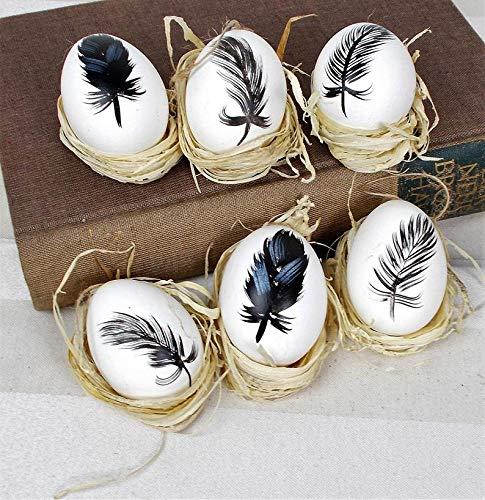 Osterdekoration, schwarz wei/ß 6er Set dekorierte Eier mit aufgemalten Federn Ostereier zum h/ängen H/ühnereier