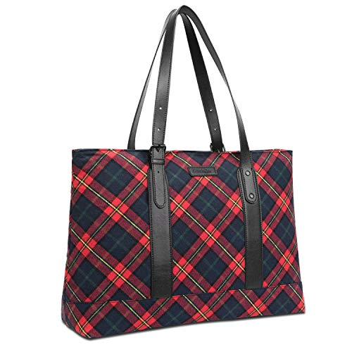 FosTak Women 15.6 inch Laptop Tote Bag Lightweight Tablet Shoulder Bag with Adjustable Straps Slim Notebook Ultrabook Briefcase for Business Work (Red Plaid)