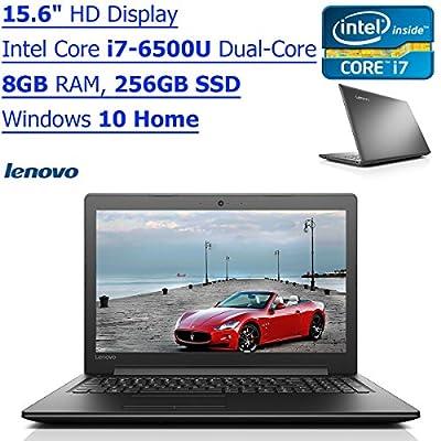 Newest Lenovo 15.6 Inch HD IdeaPad Flagship High Performance Laptop PC| Intel Core i7-6500U Dual-Core| 2.50 GHz| 8GB| 256GB SSD| DVD RW| WIFI| Bluetooth| Windows 10| Black