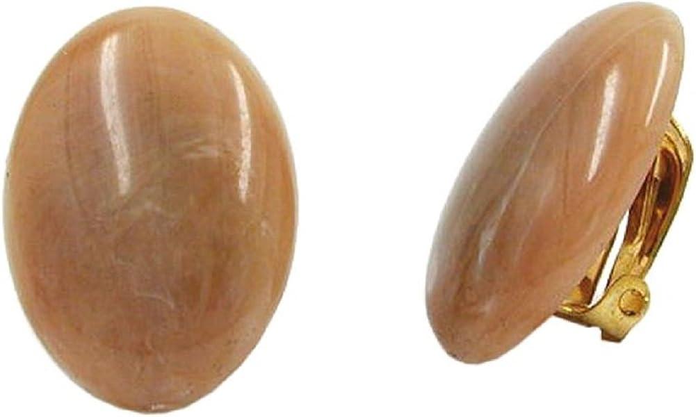 Pendientes de clip Unbespielt, joyería para mujeres, ovalados, color marrón, 25x 18mm