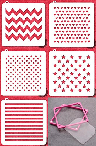 Cookie Stencil Beginner Kit with Magnetic Frame - American Confections - Polkadot, Hearts, Chevron, Stripes.