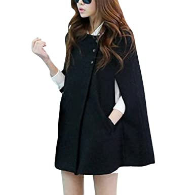 Amazon.com  Vobaga Women s Black Woolen Batwing Cap Coat Warm Winter Poncho  Jacket  Clothing b9c6f1635