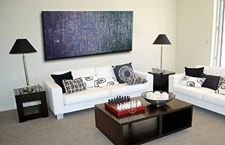 amazoncom oil painting abstract modern contemporary home decor art on canvas blue myst paintings