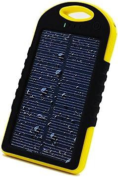 Shop-STORY – Cargador solar universal con lámpara LED – Power Bank portátil impermeable y antigolpes – Batería externa de 5000 mAh con doble puerto ...
