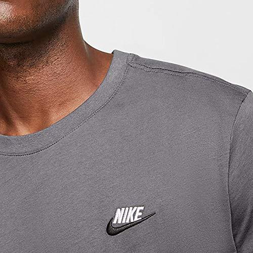 Nike Men's Sportswear Club T-Shirt AR4997-021 Size L Dark Grey/White/Black 3