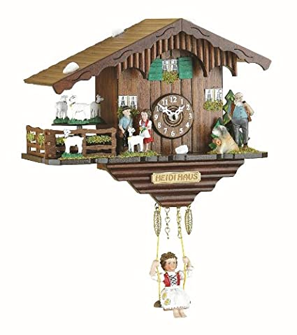 Trenkle Kuckulino Black Forest Clock Swiss House with turning goats, quartz movement and cuckoo chime TU 2020 SQ Wall Clocks at amazon