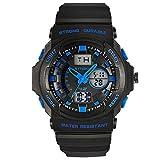 Amstt Men's Multi Function Military S-shock Sports Watch LED Analog Digital Waterproof Alarm Blue (Blue)