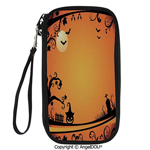 PUTIEN Hand Strap Design Travel Passport Wallet Halloween Themed Image Eerie Atmosphere Gravestone Evil Pumpkin Moon Decorative for Travel Bussiness.
