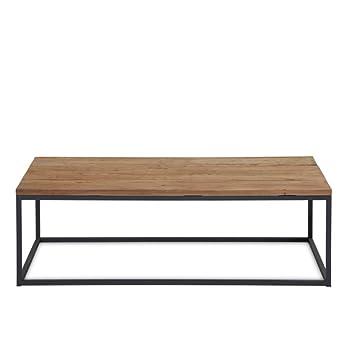 Couchtisch Holz Metall 130x70cm Sofatisch Holzplatte Ulmenholz Braun