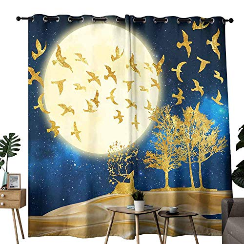 duommhome Fresh Curtains Happy Halloween in Forest at Night with Dead Tree Darkening and Thermal Insulating W84 x L96 Pumpkins and Crescent Moon.
