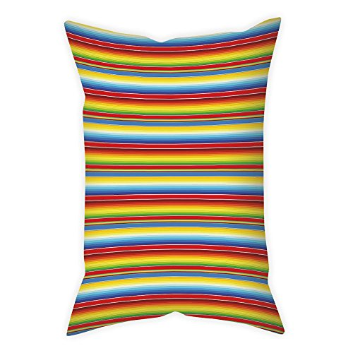 iPrint Satin Throw Pillow Cushion Cover,Abstract,Rainbow Colored Lines Geometrical Mexican Blanket Pattern Latin American Culture Decorative,Multicolor,Decorative Square Accent Pillow Case by iPrint