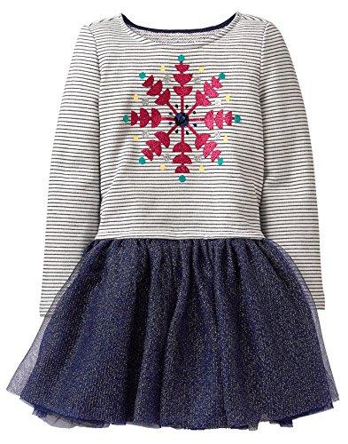 (Gymboree Girls' Little Long Sleeve Snowflake Tutu Dress, Navy Stripe Print, M )