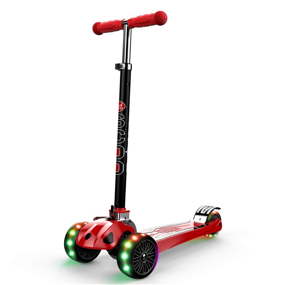 YXX- スクーター 幼児の年齢のためのアルミ合金の折るスクーターは2-16年、110ポンドの可搬重量、4つの速度の調節可能な高さ (色 : 青, サイズ さいず : Wheels) B07MFGMLP7 Flashing Wheels|Red Red Flashing Wheels