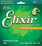 Elixir Strings 80/20 Bronze Acoustic 4-String Bass Strings w NANOWEB Coating, Long Scale, Light (.045-.100)