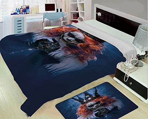 iPrint Creative Flannel Blanket for Home Warming,Queen,Queen of Death Scary Body Art Halloween Evil Face Bizarre Make Up Zombie,Navy Blue Orange Black,One Side Printing,Excess Value